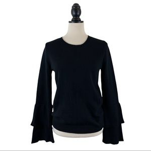 J. Crew Sweater Black Bell Ruffle Sleeve Pullover, Size S